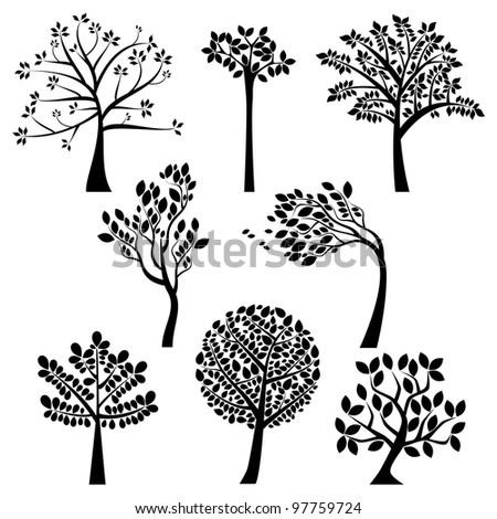 vector set of tree silhouettes
