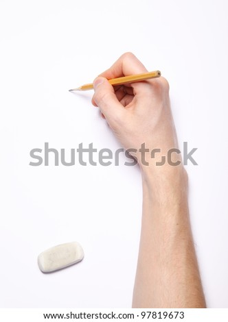 image of human hand with pencil