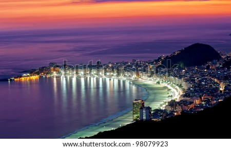 night view of copacabana beach