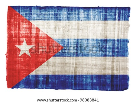 cuba flag on original papyrus
