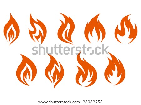 fire symbols isolated on white