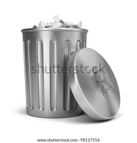 steel trash can 3d image