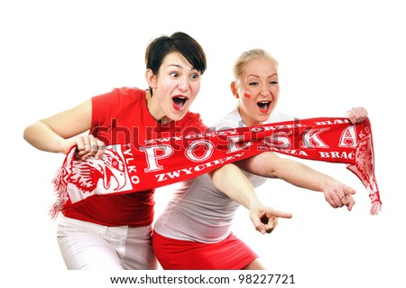 two women   polish soccer fans