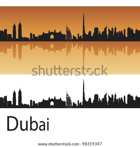 dubai skyline in orange
