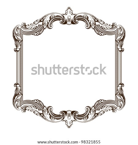 Vector: vintage border frame engraving with retro ornament pattern in ...