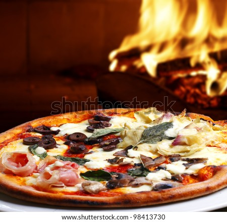pizza baked in wood oven