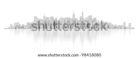 3d white city isolated on