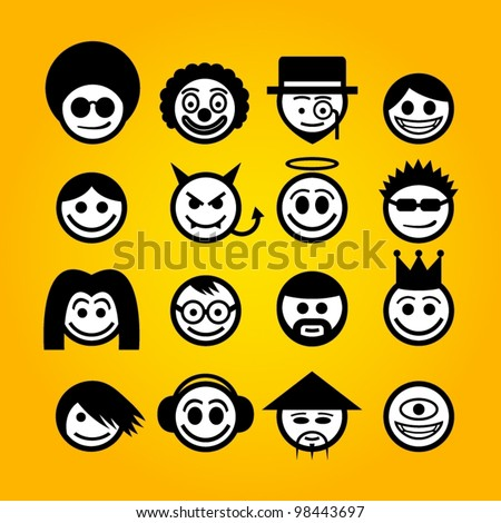 vector smiley faces funny