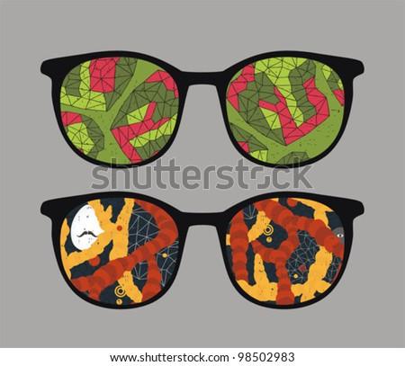 retro eyeglasses with abstract