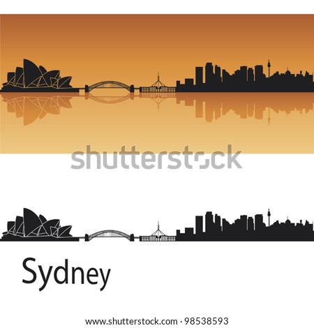 sydney skyline in orange