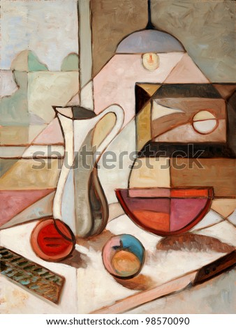 abstract oil painting of still