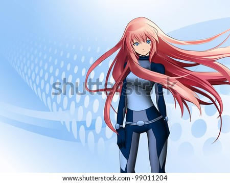 futuristic anime girl on blue