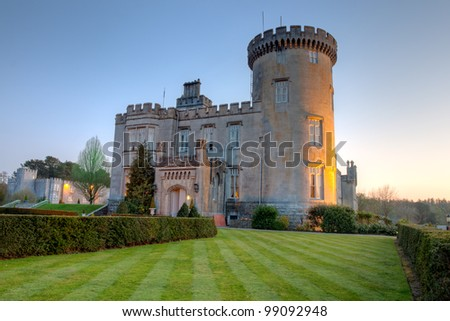 dromoland castle at dusk in