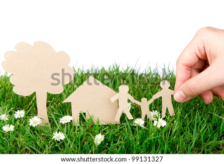 hand hold paper cut  of family