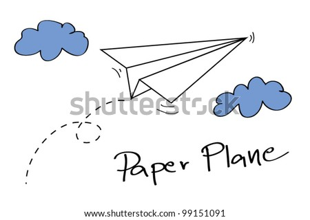 paper plane on the sky with