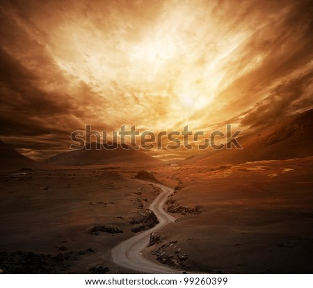 dramatic sky over road in a