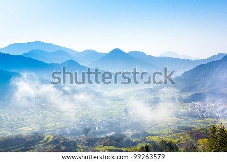 fog and cloud mountain valley