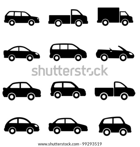 cars and trucks in black