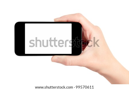 hand holding mobile smart phone