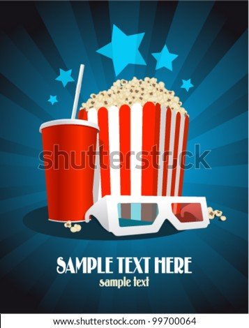cinema poster with popcorn box