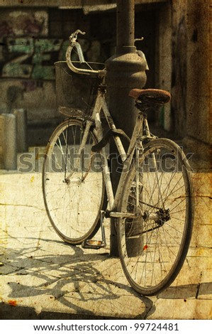 old bicycle photo in old image