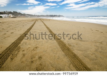 shot of car tracks in the sand