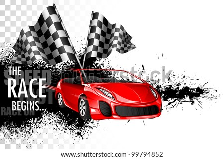 illustration of racing car with