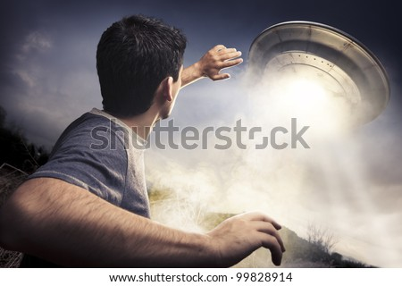 man running away from a ufo