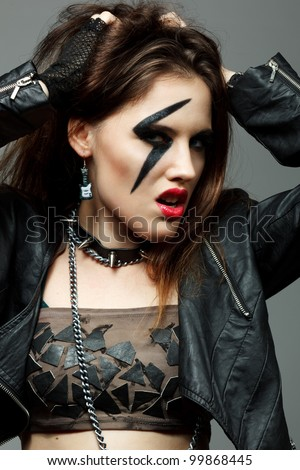 young woman styled like rock
