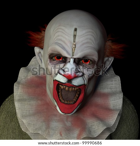 scary clown glaring at you with