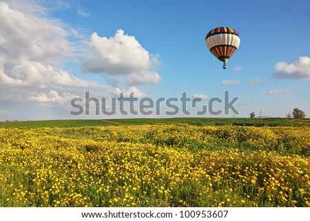 A huge balloon over the blossoming field. Scenic cumulus clouds. Sunset