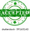 Abstract grunge rubber office stamp with the word ACCEPTED and stars - stock vector