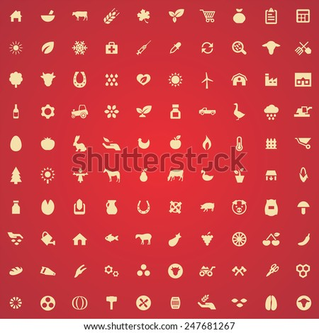 100 agriculture, farm icons, yellow on red background