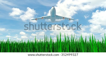 airplane in blue sky with green grass