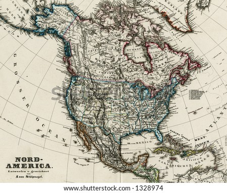 1872 Antique Map of North America Stieler Detail