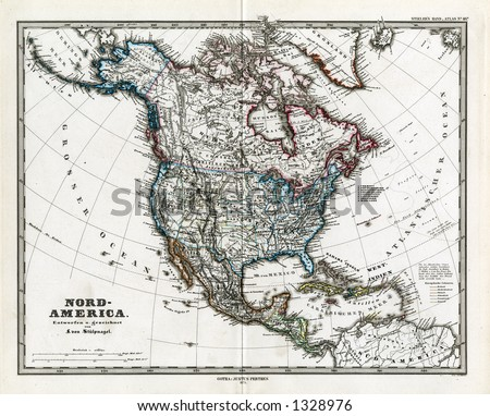 1872 Antique Map of North America Stieler Light Version