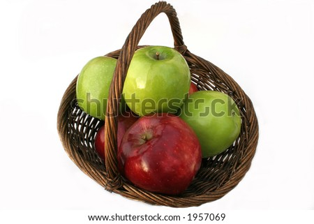 green and red apples in basket. \ green and red apples in basket