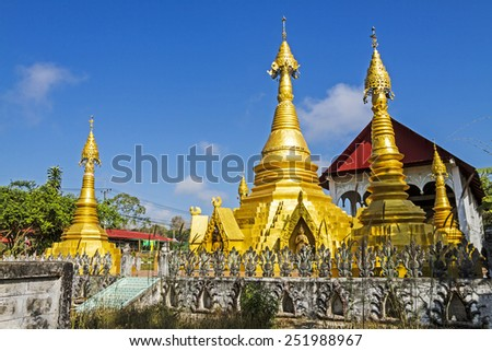 Architecture and blue sky at Wat Som Det Temple, Sangkhla Buri, Kanchanaburi Province , Thailand