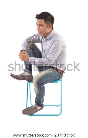 asian man sitting on chair isolate on white background.