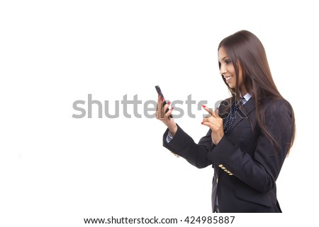 Attractive businesswoman using smart phone