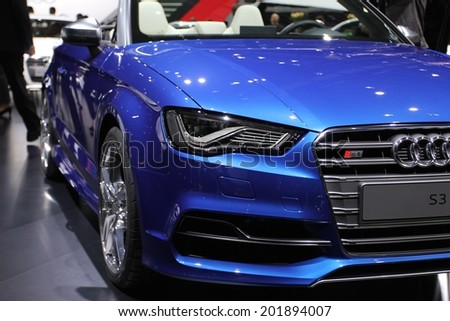 2014 Audi S3 Cabriolet presented  the 84th International Geneva Motor Show on March 4, 2014 in Palexpo, Geneva, Switzerland
