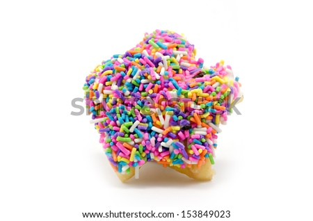 Baked fancy donuts on white background