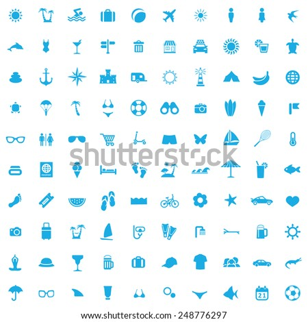 100 beach icons, blue on white background