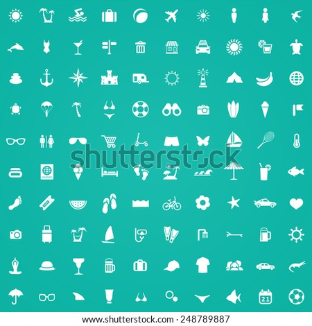 100 beach icons, white on green background