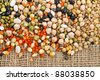 beans, legumes, peas, lentils on the sackcloth background - stock photo