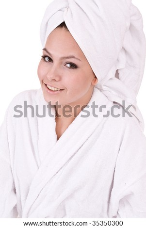 Beautiful young woman in spa. Isolated.