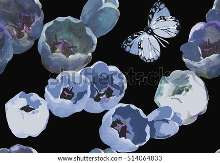 blue tulips and butterfly pattern on black