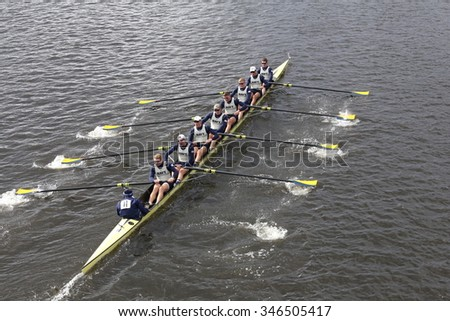BOSTON - OCTOBER 18, 2015: Navy races in the Head of Charles Regatta Men's Master Eights [PUBLIC RACE]