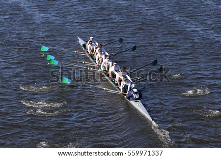 BOSTON - OCTOBER 23, 2016: New Trier  races in the Head of Charles Regatta Men's Youth Eights [PUBLIC RACE]