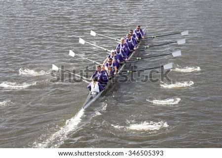 BOSTON - OCTOBER 18, 2015: Washington races in the Head of Charles Regatta Men's Master Eights [PUBLIC RACE]